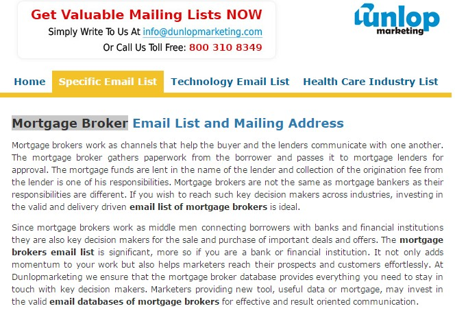 Mortgage broker email list